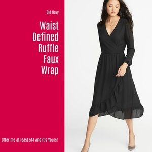 NWT Old Navy Waist Defined Ruffle Faux Wrap (A64)